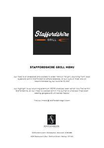 STAFFORDSHIRE GRILL MENU