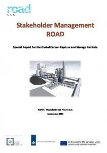 Stakeholder Management ROAD. Special Report for the Global Carbon Capture and Storage Institute