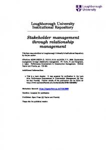 Stakeholder management through relationship management