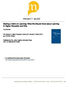 Staking a Claim on Learning: What We Should Know about Learning in Higher Education and Why