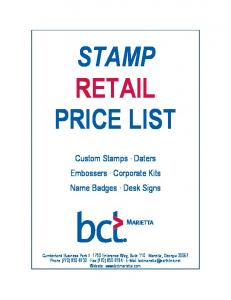 STAMP RETAIL PRICE LIST