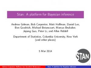 Stan: A platform for Bayesian inference