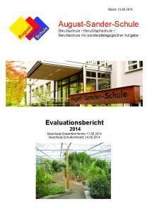 Stand: August-Sander-Schule Berufsschule Berufsfachschule Berufsschule mit sonderpädagogischer Aufgabe