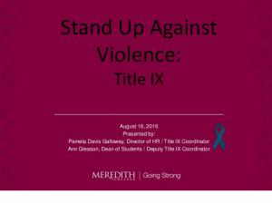 Stand Up Against Violence: Title IX