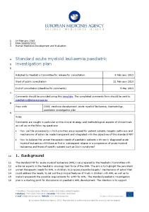 Standard acute myeloid leukaemia paediatric investigation plan