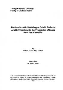 Standard Arabic Subtitling vs. Mutli- Dialectal Arabic Mimicking in the Translation of Songs from Les Miserables