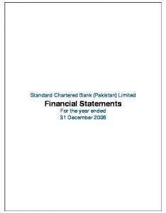 Standard Chartered Bank (Pakistan) Limited. Financial Statements