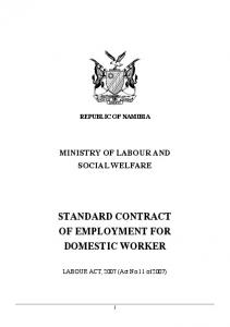 STANDARD CONTRACT OF EMPLOYMENT FOR DOMESTIC WORKER