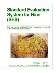 STANDARD EVALUATION SYSTEM FOR RICE (SES)... 5 GROWTH STAGES OF RICE PLANTS Agronomic Traits... 6