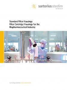 Standard Filter Housings Filter Cartridge Housings for the Biopharmaceutical Industry