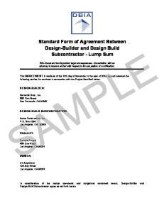Standard Form of Agreement Between Design-Builder and Design Build Subcontractor - Lump Sum SAMPLE