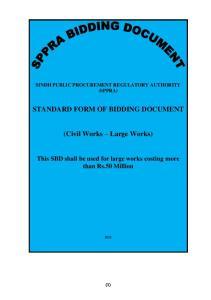 STANDARD FORM OF BIDDING DOCUMENT. (Civil Works Large Works)
