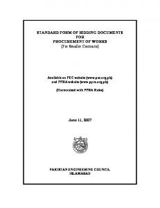 STANDARD FORM OF BIDDING DOCUMENTS FOR PROCUREMENT OF WORKS (For Smaller Contracts) June 11, 2007