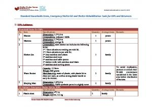 Standard Households Items, Emergency Shelter kit and Shelter Rehabilitation Tools for IDPs and Returnees