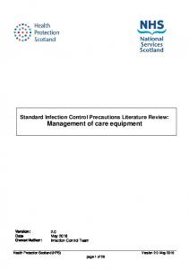 Standard Infection Control Precautions Literature Review: Management of care equipment