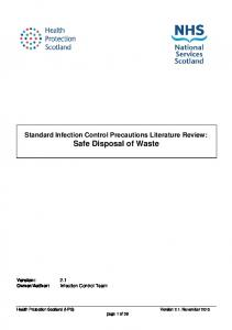 Standard Infection Control Precautions Literature Review: Safe Disposal of Waste