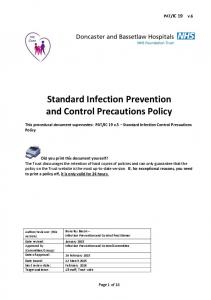 Standard Infection Prevention and Control Precautions Policy