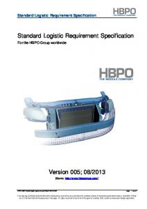Standard Logistic Requirement Specification