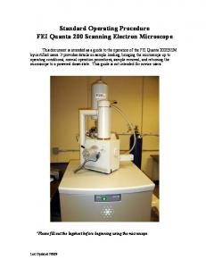 Standard Operating Procedure FEI Quanta 200 Scanning Electron Microscope