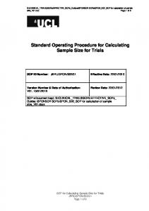 Standard Operating Procedure for Calculating Sample Size for Trials