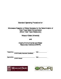 Standard Operating Procedure for: