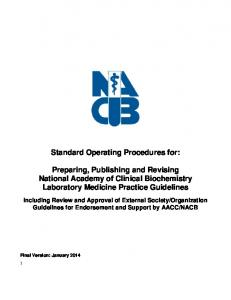 Standard Operating Procedures for: