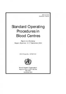 Standard Operating Procedures in Blood Centres