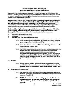 STANDARD OPERATING PROCEDURES NATIONAL MARINE EDUCATORS ASSOCIATION