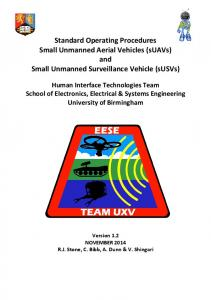 Standard Operating Procedures Small Unmanned Aerial Vehicles (suavs) and Small Unmanned Surveillance Vehicle (susvs)