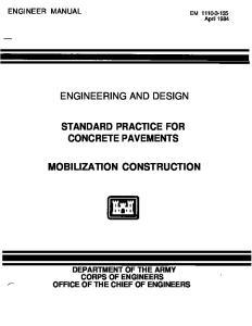 STANDARD PRACTICE FOR CONCRETE PAVEMENTS MOBILIZATION CONSTRUCTION