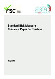 Standard Risk Measure Guidance Paper For Trustees