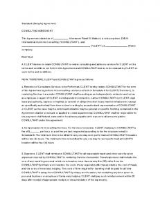 Standard (Sample) Agreement CONSULTING AGREEMENT