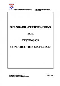 STANDARD SPECIFICATIONS FOR TESTING OF CONSTRUCTION MATERIALS