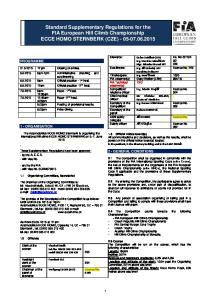 Standard Supplementary Regulations for the FIA European Hill Climb Championship ECCE HOMO STERNBERK (CZE)