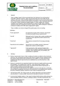 Standard terms and conditions for procurement