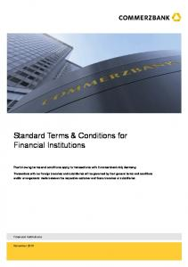 Standard Terms & Conditions for Financial Institutions