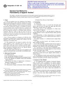 Standard Test Method for Flammability of Apparel Textiles 1