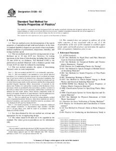 Standard Test Method for Tensile Properties of Plastics 1