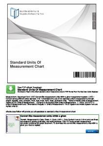 Standard Units Of Measurement Chart