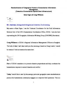 Standardization of Geographic Names in Humanitarian Information Management (Towards a Humanitarian Spatial Data Infrastructure)