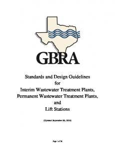 Standards and Design Guidelines for Interim Wastewater Treatment Plants, Permanent Wastewater Treatment Plants, and Lift Stations