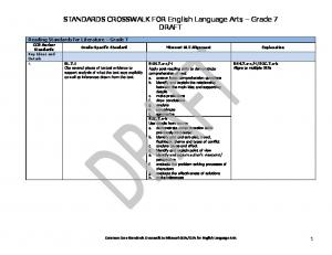STANDARDS CROSSWALK FOR English Language Arts Grade 7 DRAFT