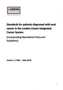 Standards for patients diagnosed with anal cancer in the London Cancer Integrated Cancer System