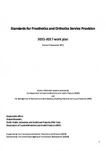 Standards for Prosthetics and Orthotics Service Provision work plan