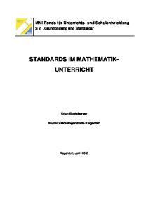 STANDARDS IM MATHEMATIK- UNTERRICHT