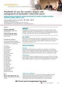 Standards of care for curative surgery and management of metastatic colorectal cancer TERMS OF REFERENCE