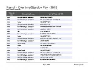 Standby Pay Based on Payroll - Base Data