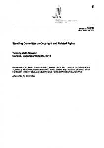 Standing Committee on Copyright and Related Rights