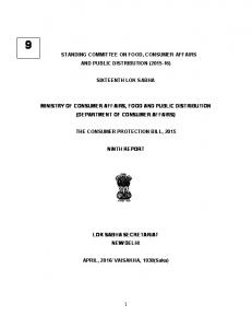 STANDING COMMITTEE ON FOOD, CONSUMER AFFAIRS AND PUBLIC DISTRIBUTION ( ) SIXTEENTH LOK SABHA
