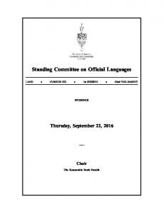 Standing Committee on Official Languages